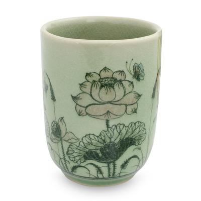 Celadon ceramic teacup, 'Pink Lotus Butterflies' - Thai Celadon Handleless Floral Teacup