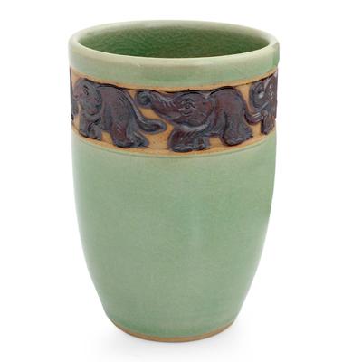 Celadon Ceramic Elephant Handleless Teacup from Thailand