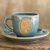 Celadon ceramic cup and saucer, 'Blue Thai Elephant' - Thai Blue Celadon Elephant Cup and Saucer Set