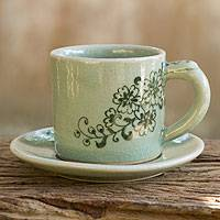 Celadon ceramic demitasse cup and saucer, 'Jade Blossoms' - Hand Painted Green Celadon Espresso Cup and Saucer