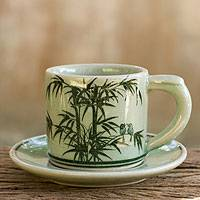 Celadon ceramic demitasse cup and saucer, 'Jade Bamboo' - Celadon Espresso Cup and Saucer from Thailand
