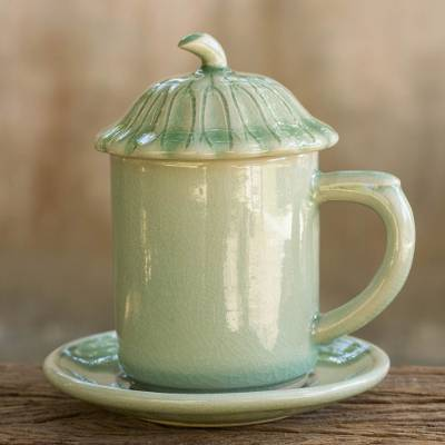 Celadon ceramic covered cup and saucer, 'Green Lotus Leaf' - Thai Green Celadon Ceramic Covered Cup and Saucer
