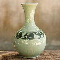 Celadon ceramic vase, 'Green Prancing Elephants' - Green Celadon Narrow Neck Elephant Vase from Thailand