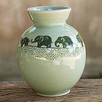 Celadon ceramic vase, 'Prancing Jade Elephants' -  Fair Trade Green Celadon Ceramic Elephant Vase