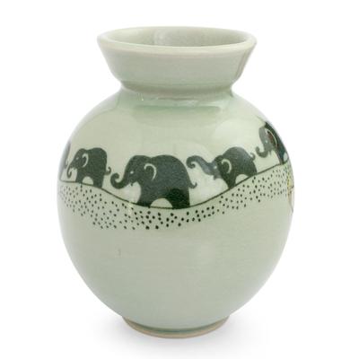 Celadon ceramic vase, 'Prancing Jade Elephants' - Handmade Green Celadon Ceramic Elephant Vase