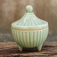 Celadon ceramic jar, 'Temple Spire' - Handcrafted Green Thai Celadon Jar and Lid