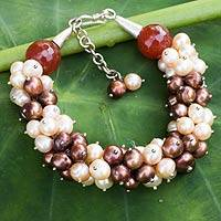 Cultured pearl and chalcedony beaded bracelet, 'Divine Feminine' - Brown and Peach Pearls with Orange Chalcedony Bracelet