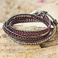 Leather and garnet wrap bracelet, 'Peace'