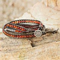 Leather and carnelian wrap bracelet, 'Peace' - Fair Trade Leather Carnelian and Silver Handcrafted Bracelet