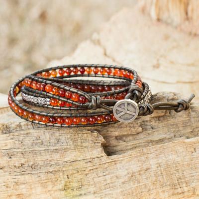 Leather and carnelian wrap bracelet, 'Peace' - Fair Trade Leather Carnelian and Silver Handcrafted Bracelet
