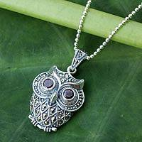 Marcasite and garnet pendant necklace, 'Curious Owl' - Unique Owl Themed Necklace with Garnet Eyes