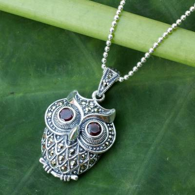 Marcasite and garnet pendant necklace, 'Curious Owl' - Thai  Silver and Marcasite Owl Necklace with Garnets