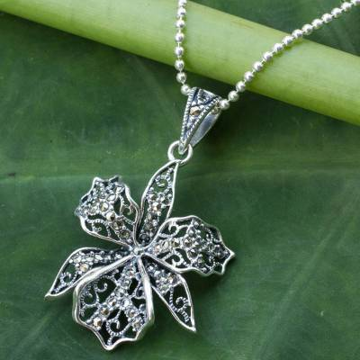 Marcasite flower necklace, 'Jungle Orchid' - Fair Trade Sterling Silver Necklace with Marcasite