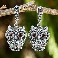 Marcasite and garnet dangle earrings, 'Curious Owl' - Sterling Silver and Marcasite Owl Earrings with Garnet Eyes