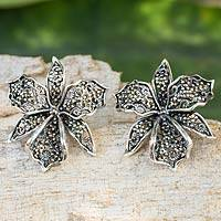 Marcasite button earrings, 'Jungle Orchid'