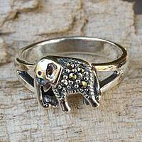 Marcasite cocktail ring, 'Thai Elephant' - Handcrafted Marcasite and Sterling Silver Cocktail Ring
