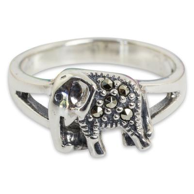 Marcasite cocktail ring, 'Thai Elephant' - Handcrafted Marcasite and Sterling Silver Cocktail Ring