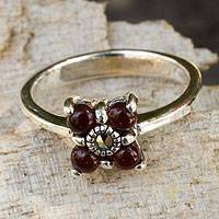 Marcasite flower ring, 'Wine Blossom' - Thai Marcasite and Chalcedony Flower Ring