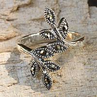 Marcasite cocktail ring, 'Olive Bough' - Marcasite Wrap Ring