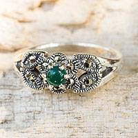 Marcasite cocktail ring, 'Verdant Bud' - Thai Marcasite and Green Agate Cocktail Ring