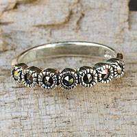Marcasite flower ring, 'Happy Blossoms'