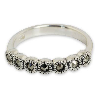 Marcasite flower ring, 'Happy Blossoms' - Handcrafted Silver Flower Ring with Marcasite