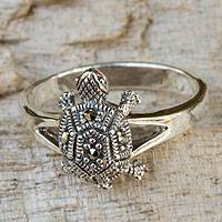 Marcasite cocktail ring, 'Happy Thai Turtle' - Thai Marcasite Ring