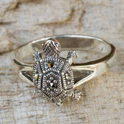 Marcasite cocktail ring, 'Happy Thai Turtle' - Fair Trade Thai Marcasite Turtle Ring