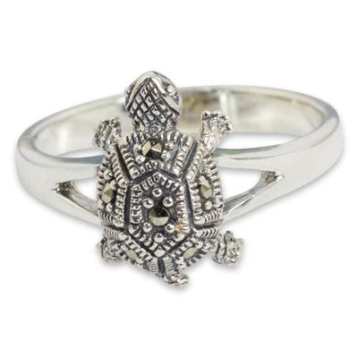 Marcasite cocktail ring, 'Happy Thai Turtle' - Fair Trade Thai Marcasite Turtle Ring
