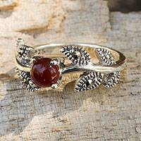 Marcasite cocktail ring, 'Wine Berry' - Unique Gemstone Ring from Thailand