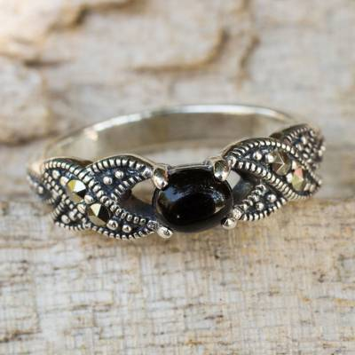 Onyx and marcasite cocktail ring, At Midnight