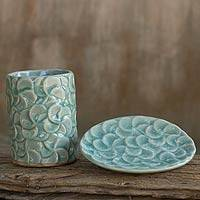 Celadon ceramic soap dish and tumbler, 'Aqua Frangipani' (set of 2) - Celadon Ceramic Soap Dish and Tumbler Set