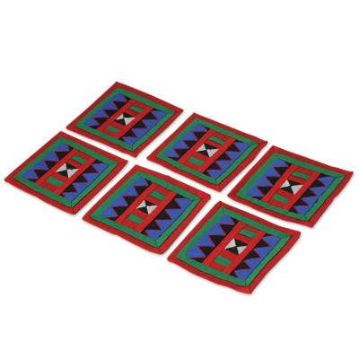 Handwoven Lahu Hill Tribe Red and Green Cotton Coasters