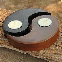 Wood tealight candleholders, 'Light of Yin Yang' (pair) - Hand-carved Wood Tealight Candleholders (pair)