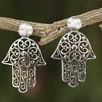 Sterling silver drop earrings, 'Thai Hamsa' - Fair Trade Sterling Silver Hand of Fatima Earrings