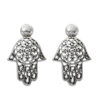 Sterling silver drop earrings, 'Thai Hamsa' - Fair Trade Sterling Silver Hand of Fatima Earrings