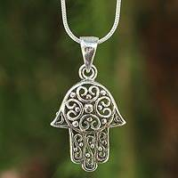 Sterling silver pendant necklace, 'Thai Hamsa'
