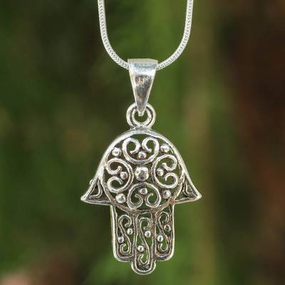 Sterling silver pendant necklace, 'Thai Hamsa' - Fair Trade Sterling Silver Hand of Fatima Necklace