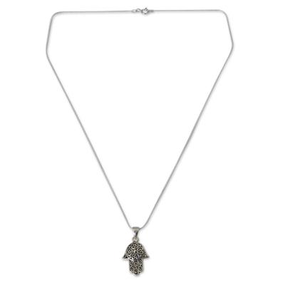 Sterling silver pendant necklace, 'Thai Hamsa' - Fair Trade Sterling Silver Hand of Fatima Necklace