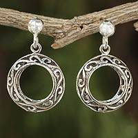 Sterling silver filigree earrings, 'Beautiful Moons' - Fair Trade Jewelry Sterling Silver Filigree Earrings
