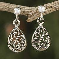 Sterling silver filigree earrings, 'Moonlit Dew' - Sterling Silver Filigree Dangle Earrings