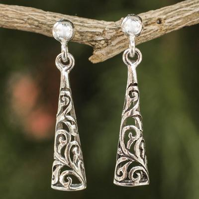 Sterling silver dangle earrings, 'Fantasy' - Sterling Silver Openwork Earrings