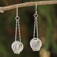 Sterling silver dangle earrings, 'Pendulum Riddles'