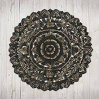 Reclaimed teakwood wall panel, 'Floral Inspiration' - Hand-carved Reclaimed Teakwood Relief Wall Panel