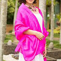 Silk shawl, 'Pink Lipstick' - Hot Pink Silk Batik Shawl from Thailand