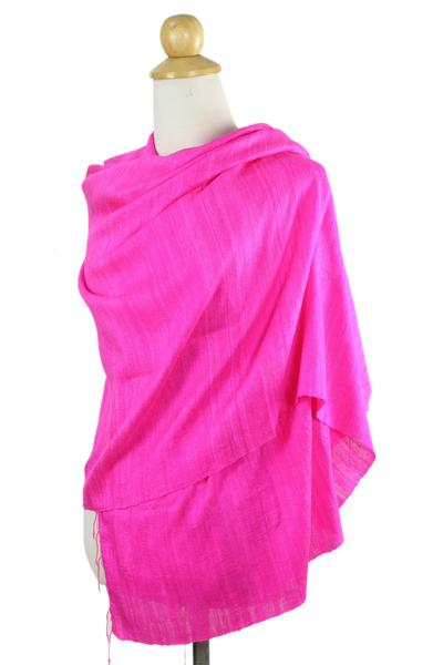 Silk shawl, 'Pink Lipstick' - Hot Pink Silk Batik Shawl from Thailand