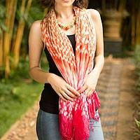 Tie-dyed scarf, 'Fabulous Peach' - Orange and Pink Tie Dye Silk Blend Scarf