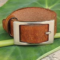 Men's leather wristband bracelet, 'Courage' - Men's Tan Leather Wristband Bracelet