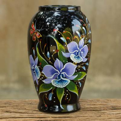 Lacquered wood decorative vase, 'Purple Cattleya' - Handpainted Thai Lacquered Wood Decorative Vase