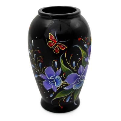 Lacquered wood decorative vase, 'Purple Cattleya' - Handpainted Thai Lacquered Wood Decorative Vase